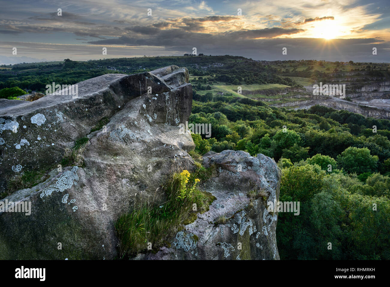 Black Rocks at sunset Stock Photo