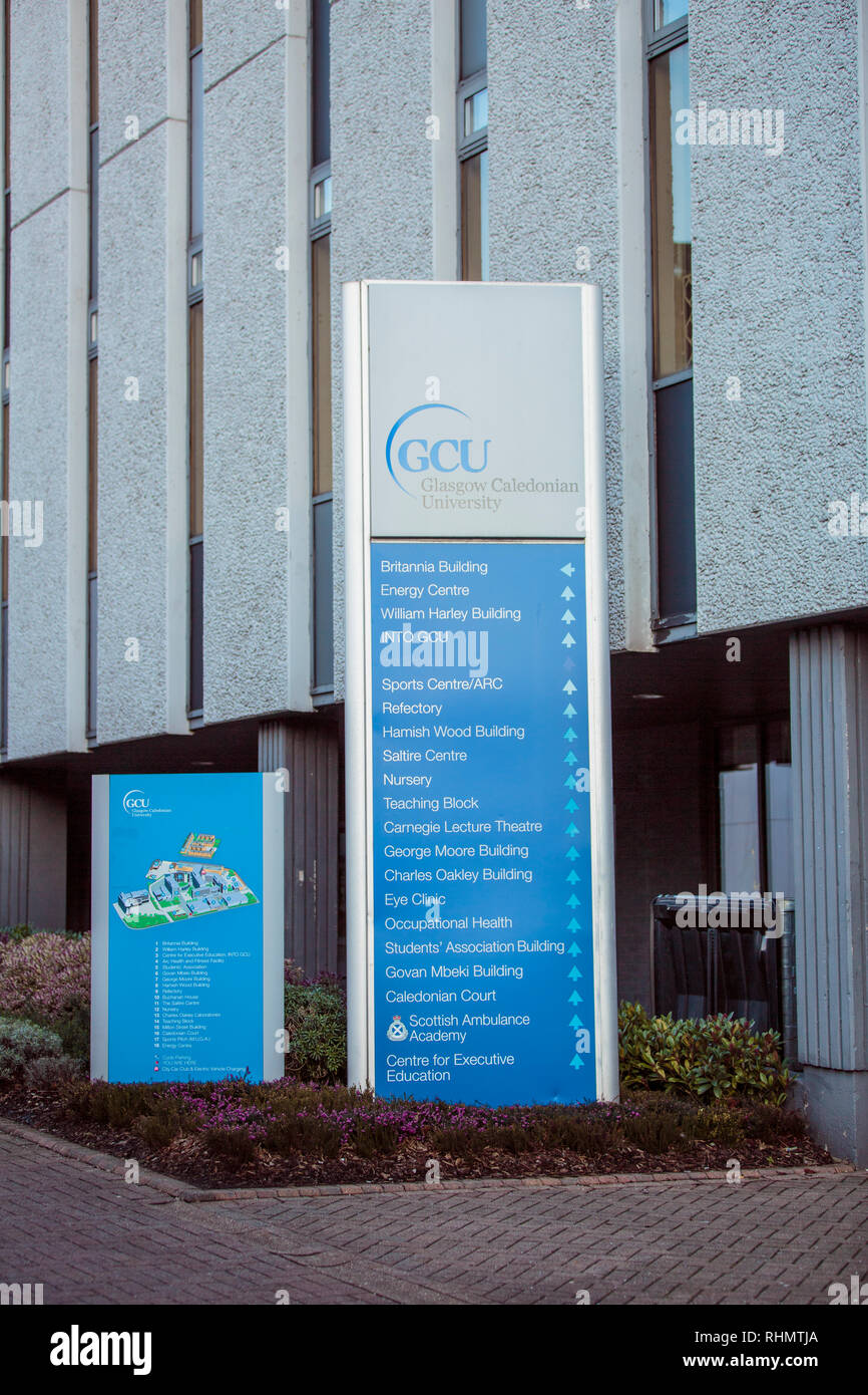 Map and index  of Glasgow Caledonian University Campus - Stock Image