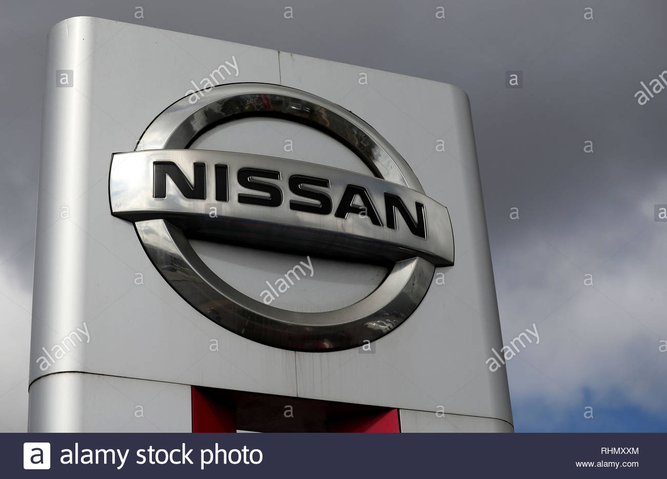 File photo dated 30/09/16 of a Nissan sign. Car giantNissan has has confirmed in a letter to workers that the next-generation X-Trail, planned for its Sunderland plant, will instead be made in Japan. - Stock Image