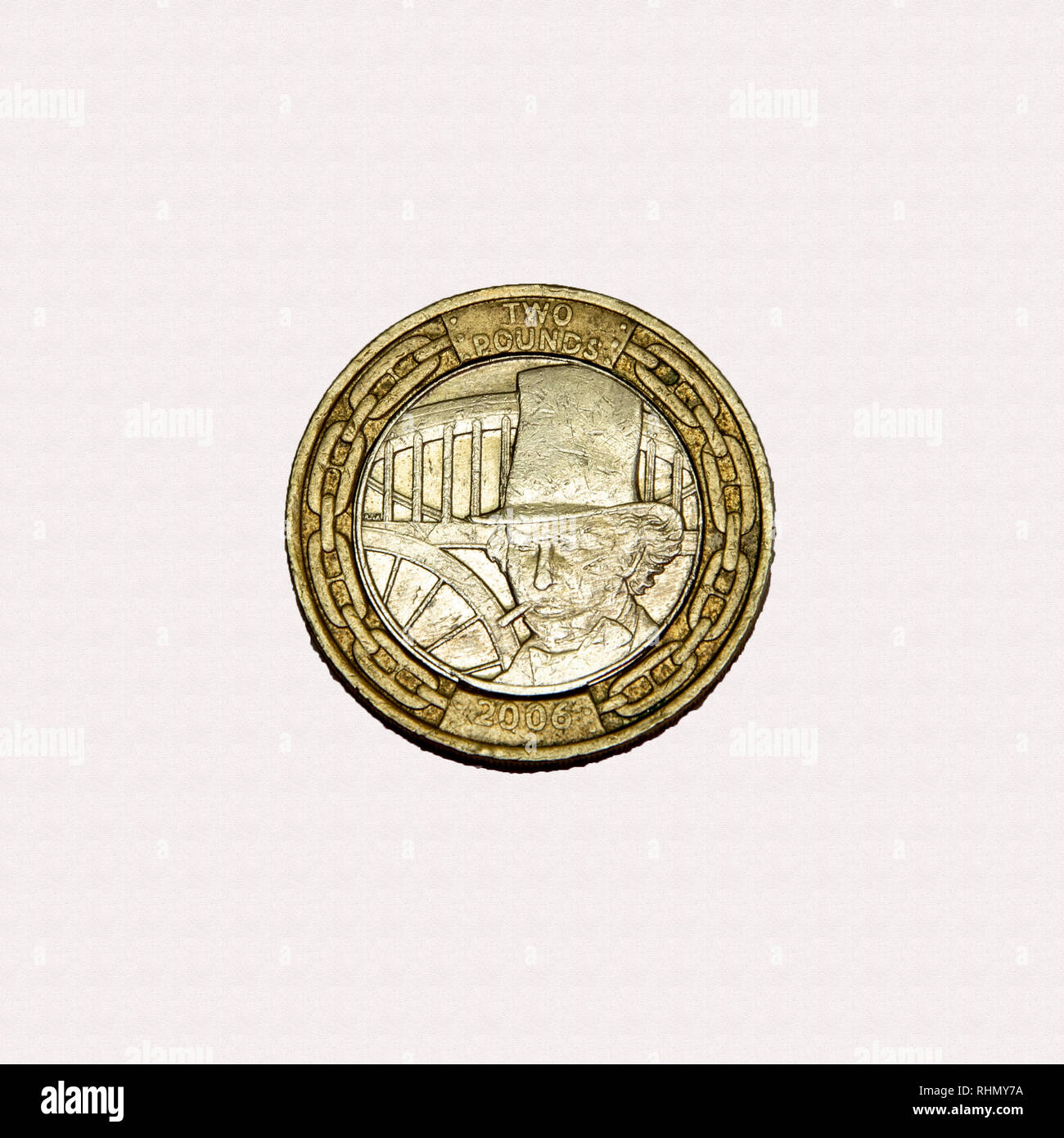 Limited edition British £2 coin commemorating Isambard Kingdom Brunel the famous engineer with image of his face Stock Photo