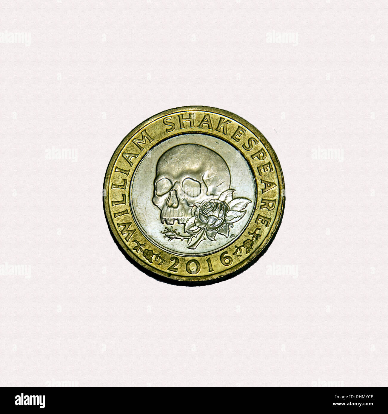Limited edition British £2 coin commemorating Shakespeare with a skull and rose Stock Photo