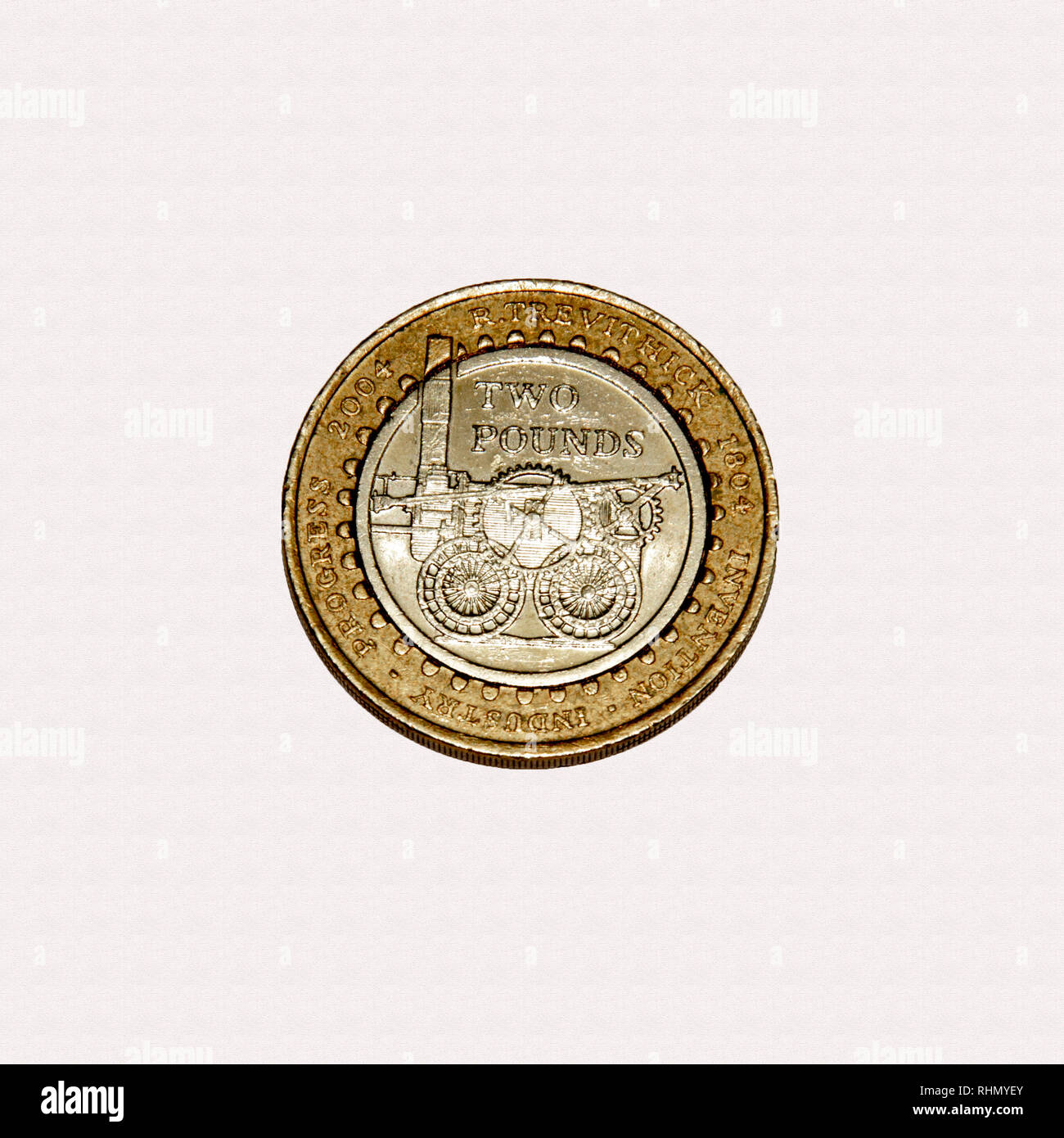 Limited edition British £2 coin commemorating Richard Trevithick first steam engine the Pennydarren at the start of the Industrial revolution Stock Photo