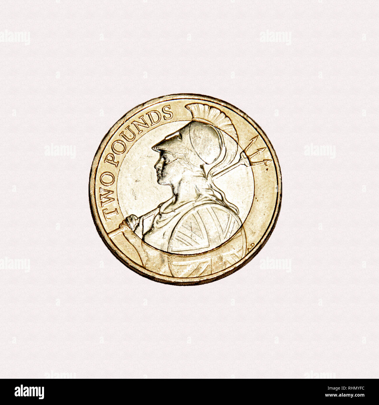 British £2 coin with the return of the image of Britannia to British coinage - Stock Image