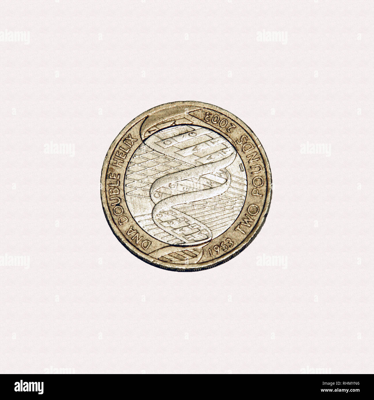 Limited edition British £2 coin commemorating the discovery of DNA in 1953 - Stock Image