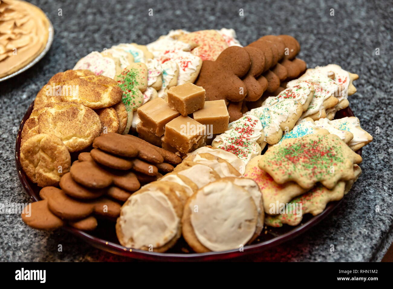 A Plate Of Traditional Holiday Cookies Ready For The Celebration