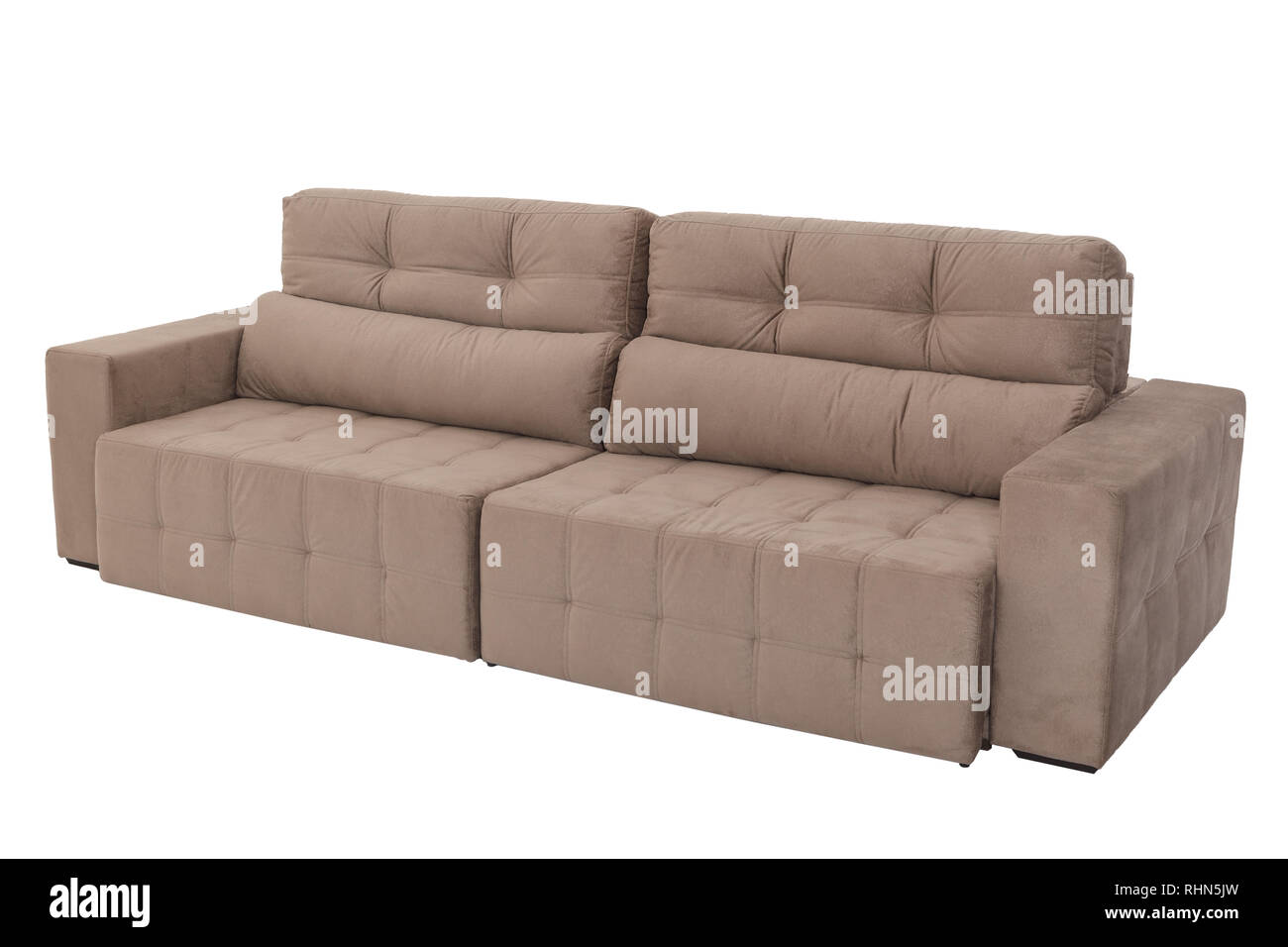 modern brown suede couch sofa isolated on white background ...