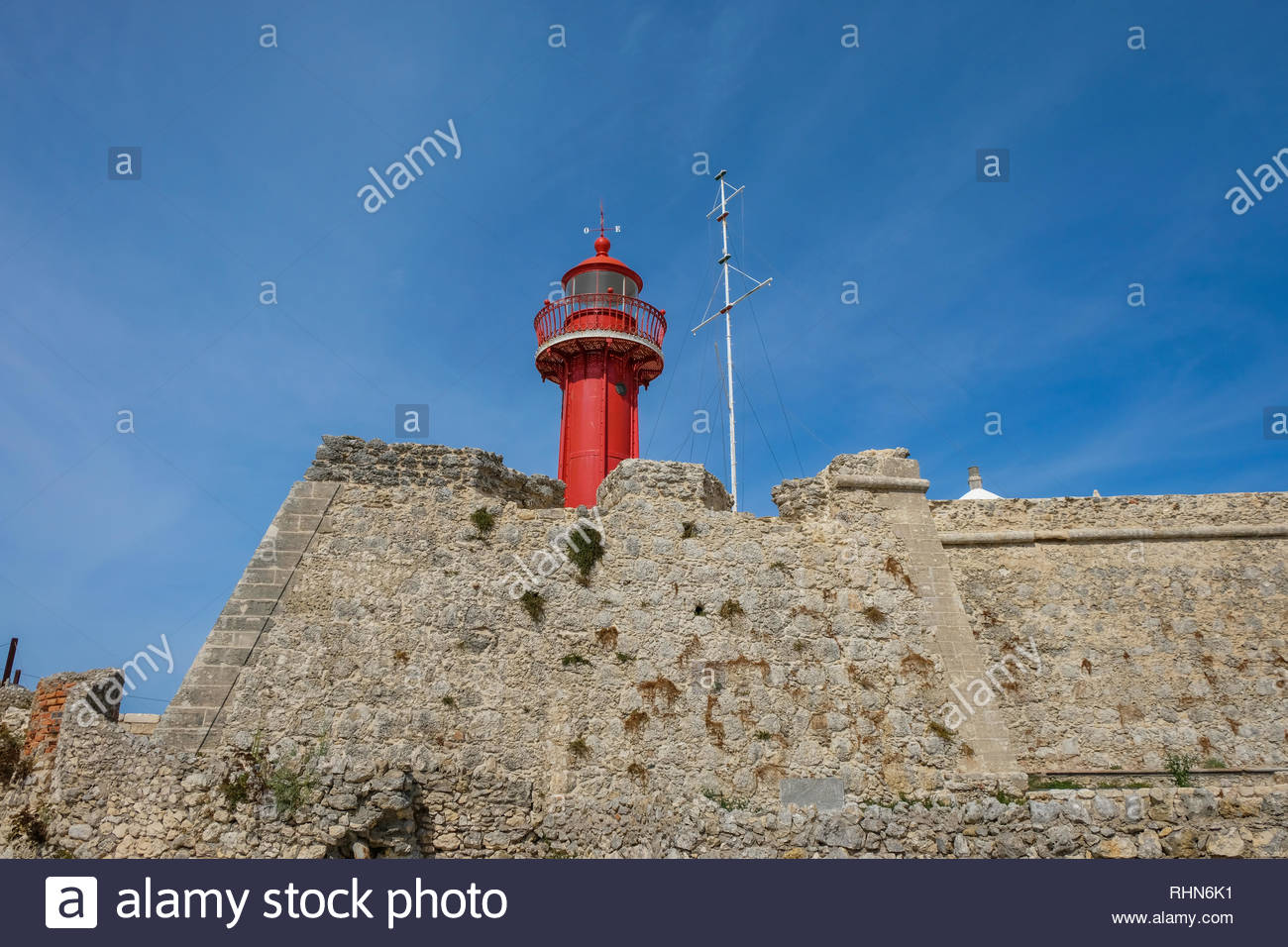Lighthouse of Forte de Santa Catarina - Farol Forte de Santa Catarina -  Figueira da Foz, Portugal - Stock Image