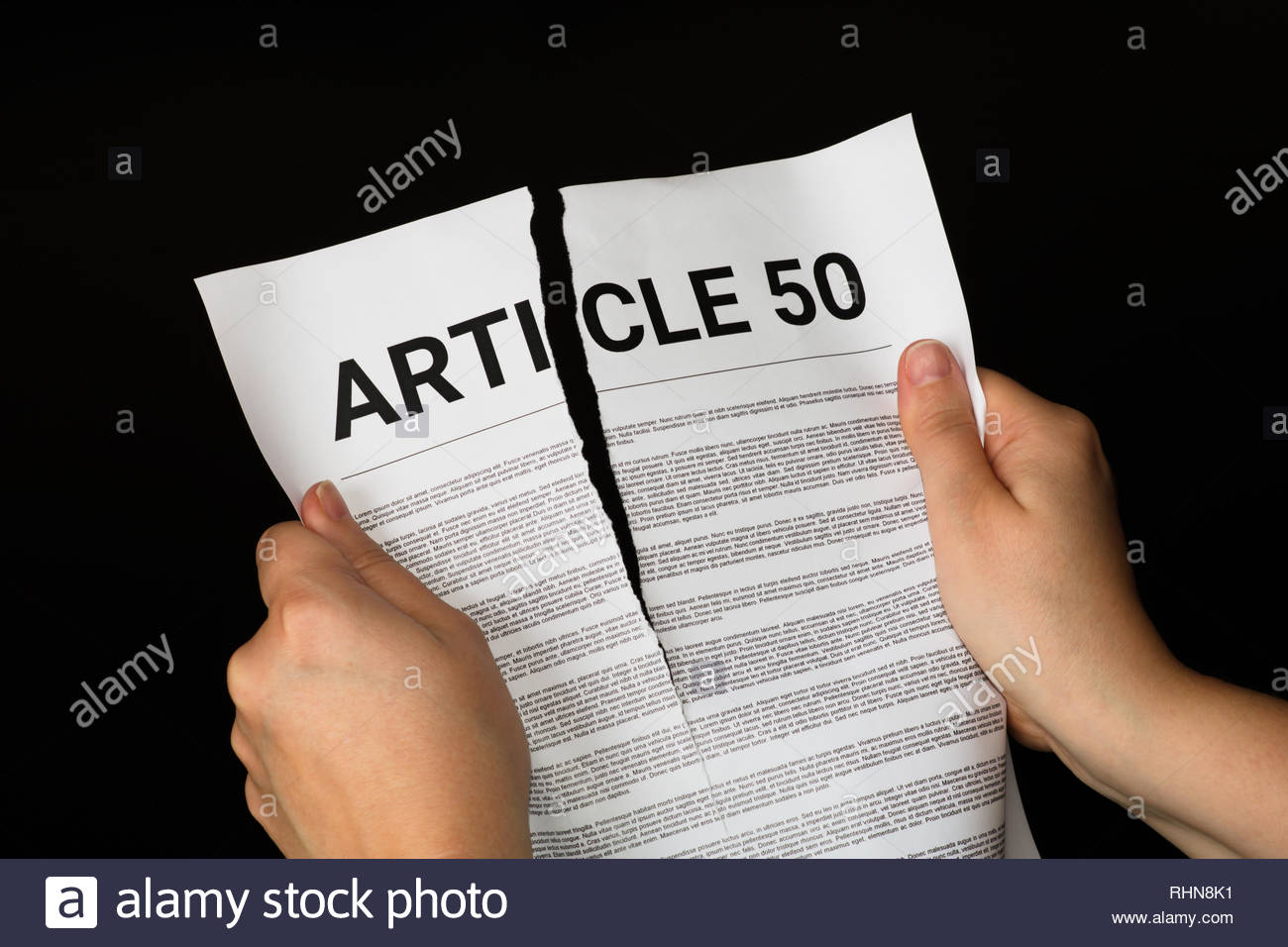 Brexit - ripping up article 50 (mock), revoke article 50, tearing up contract Stock Photo