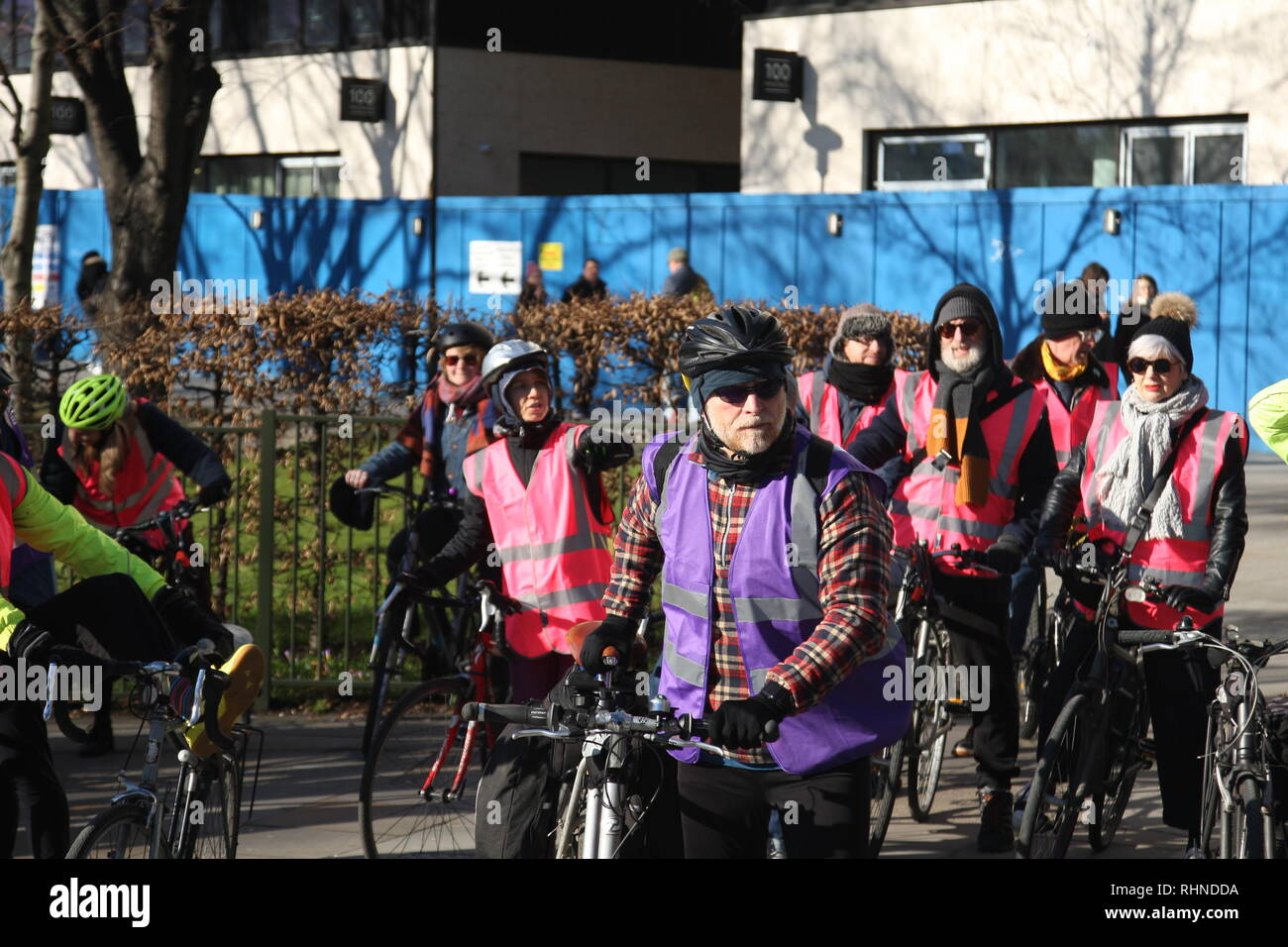 London, UK, February 3rd 2019. Cyclists gather in central London to take part in a ten mile ride in support of the 'Stansted 15'. The 'Stansted 15' are a group of protesters who surrounded an aircraft at Stansted airport in 2017 to prevent it being used to carry out a deportation. The 15 have been found guilty of terrorism related charges and will be sentenced in Chelmsford on February the 6th. Roland Ravenhill/Alamy Live News - Stock Image