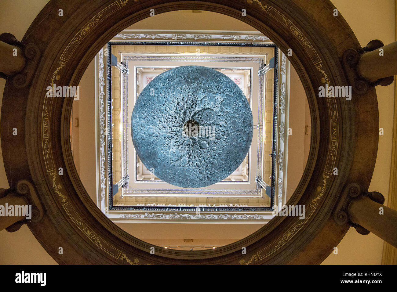 Preston, UK. 03rd Feb, 2019. The Museum of the Moon, an artwork by Luke Jerram, at the Harris Museum and Art Gallery, Preston, Lancashire. The seven metres in diameter sphere will tour various exhibitions and festivals around the world. Credit: John Eveson/Alamy Live News - Stock Image