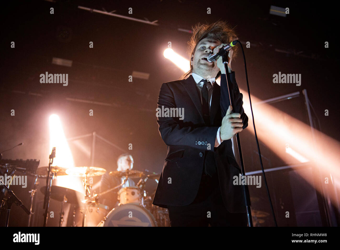 Manchester, UK. 03rd February 2018. Chris Batten, Rou Reynolds, Rob Rolfe and Rory Clewlow of Enter Shikari  perform at the Manchester Academy on their Stop The Clocks UK tour, Manchester 2018-02-03 Credit: Gary Mather/Alamy Live News - Stock Image