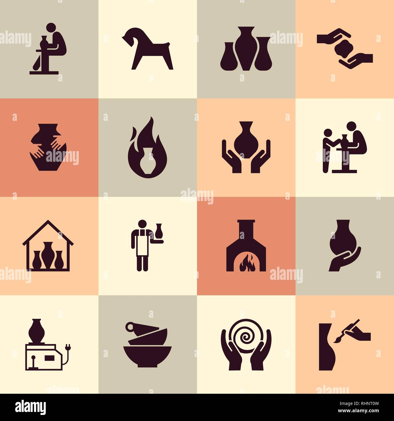 Ceramic products in the icon set in flat style. For website, print, decoration or other you ideas. - Stock Vector
