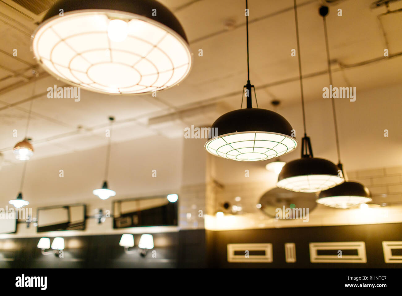 vintage light decorate on the wall background Stock Photo