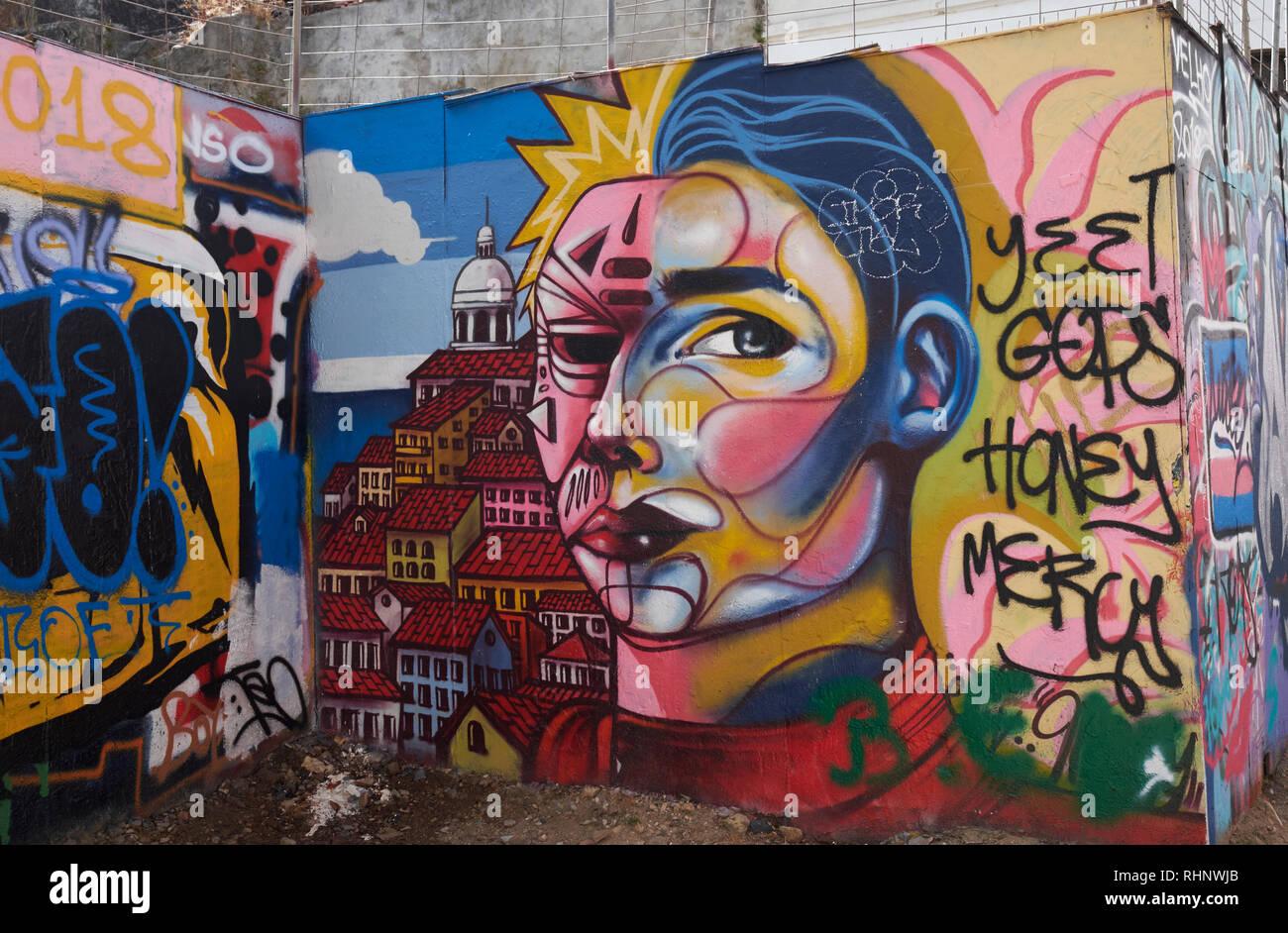 Gallery of Urban Art (Galeria de Arte Urbana), Calçada da Glória, Lisbon, Portugal. - Stock Image