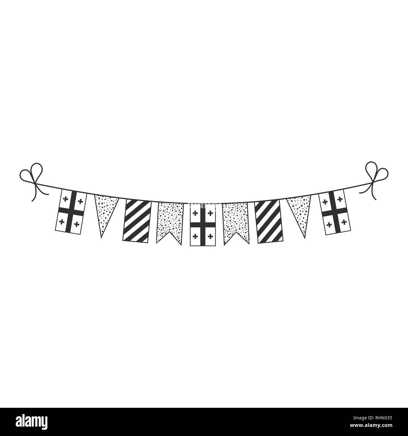 Decorations bunting flags for Georgia national day holiday in black outline flat design. Independence day or National day holiday concept. - Stock Image