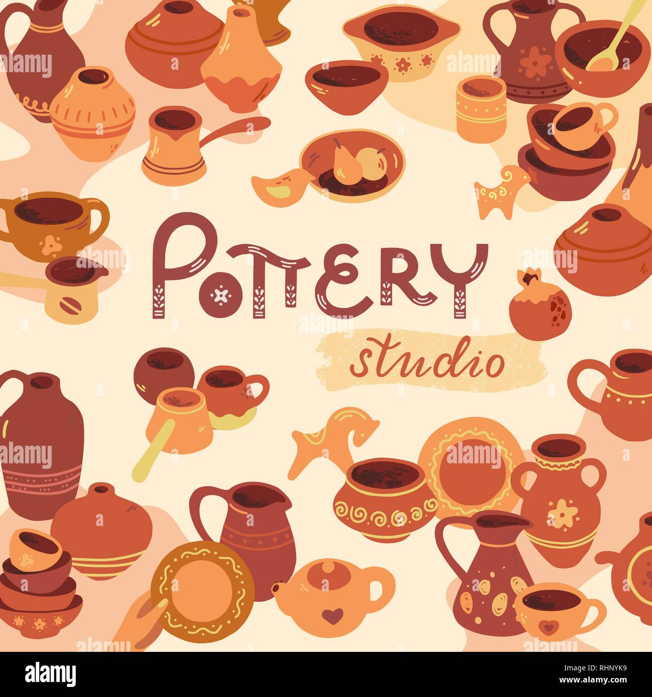 Pottery workshop, ceramics classes banner illustration. Vector line icon of clay studio tools. Pottery wheel, potter, clay horse, and other ceramic products in the icon set in flat style. - Stock Vector