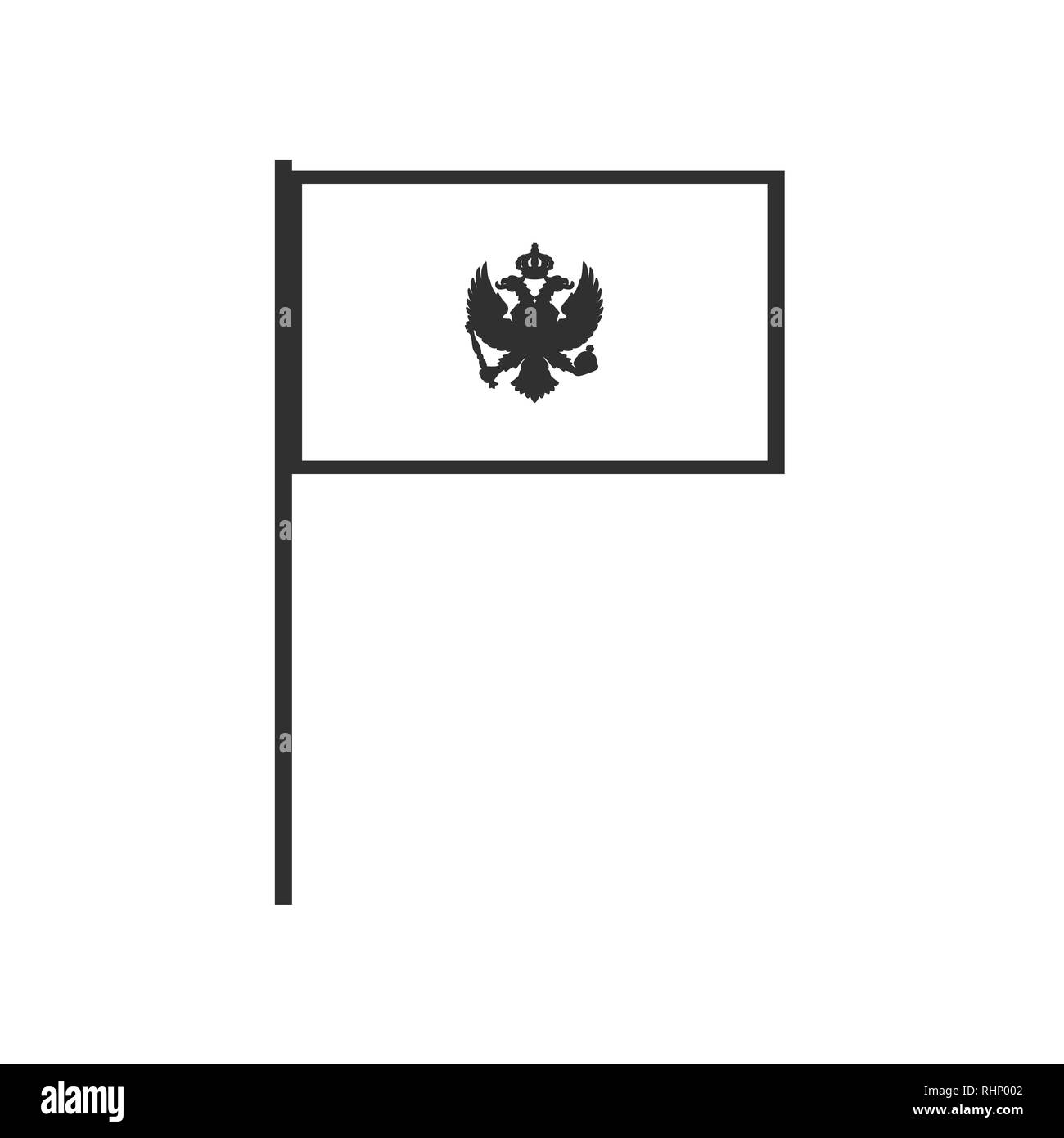 Montenegro flag icon in black outline flat design. Independence day or National day holiday concept. Stock Vector