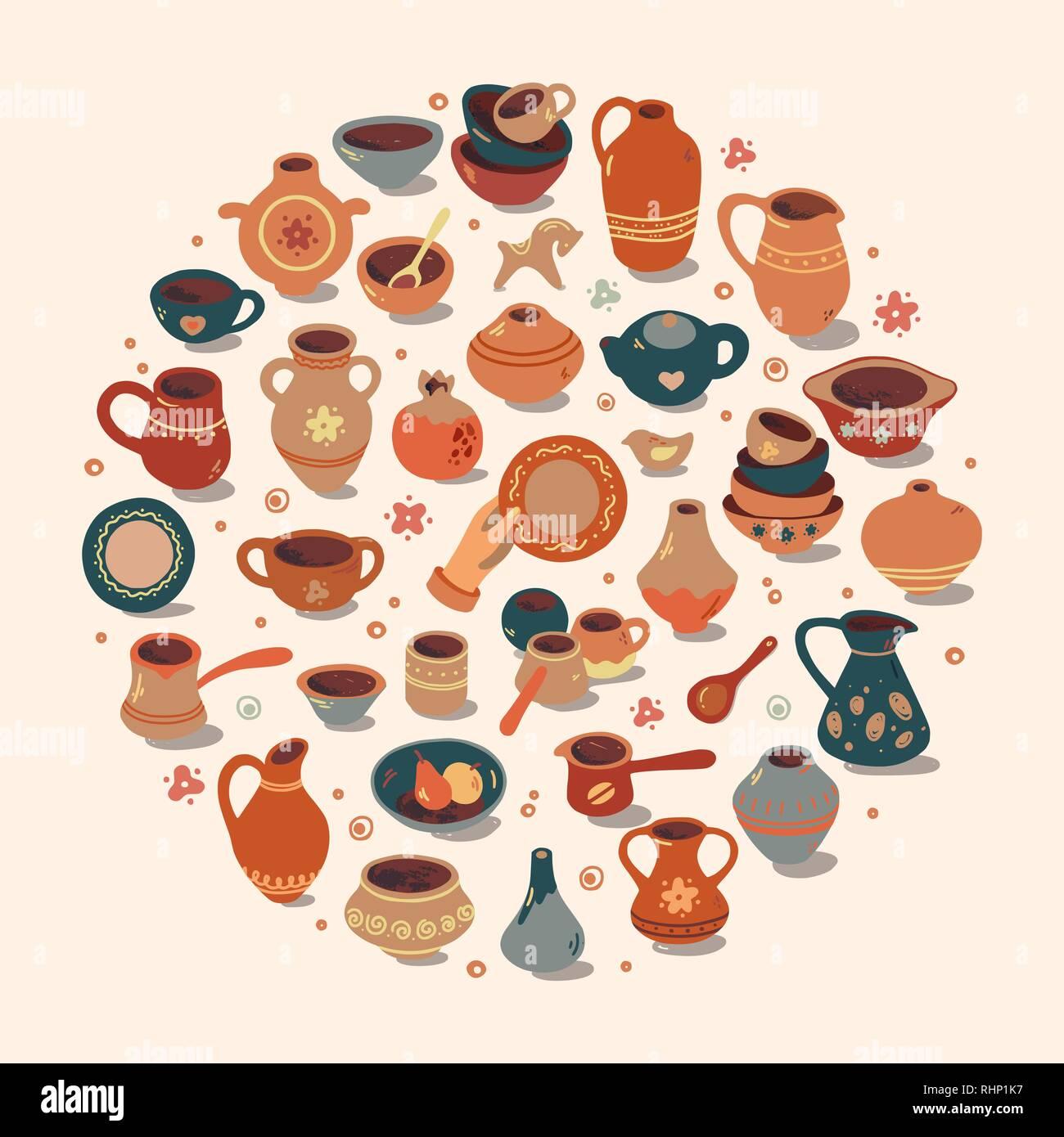 Pottery workshop, ceramics classes banner illustration. Vector line icon of clay studio tools. Hand building, sculpturing equipment. Art shop circle template. - Stock Vector
