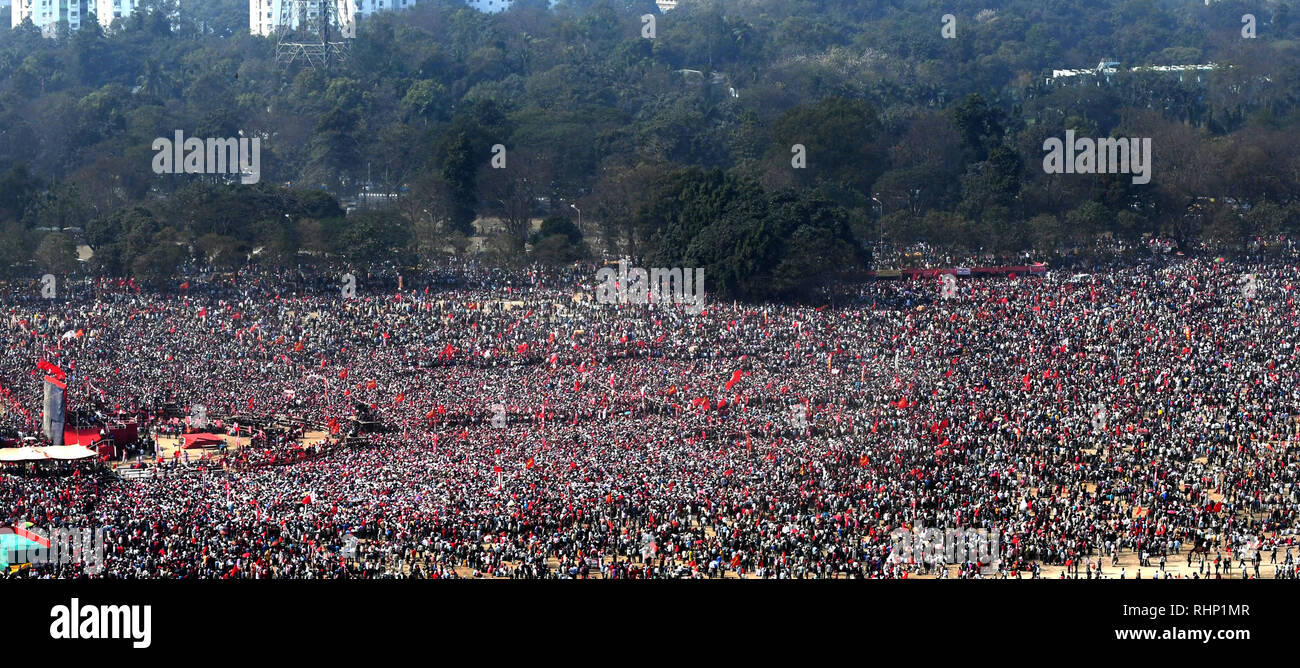 Kolkata, India. 03rd Feb, 2019. Left activist from different part of state take part in the Left front Brigade rally ahead of General Election 2019. Credit: Saikat Paul/Pacific Press/Alamy Live News Stock Photo