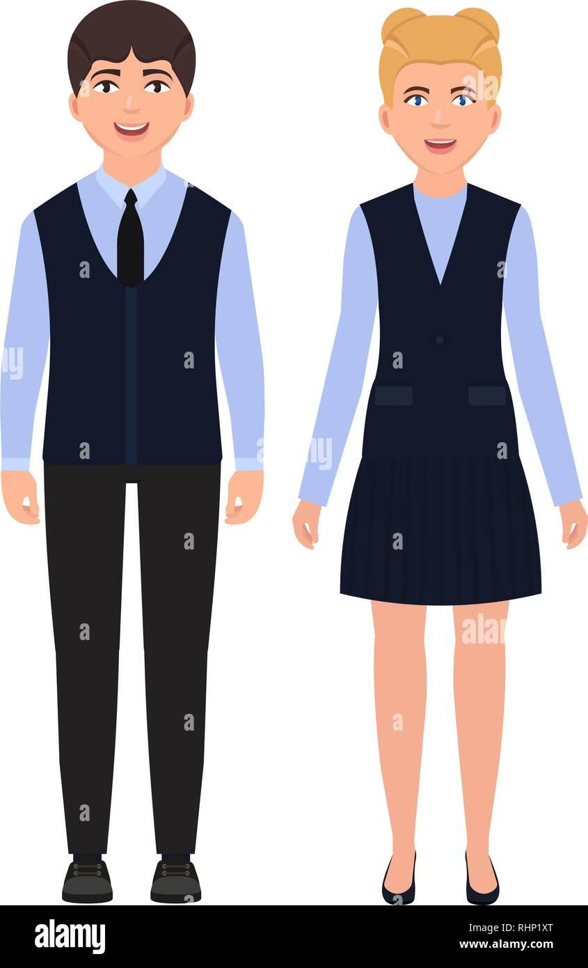 Children dressed in school uniform, happy boy and girl, schoolchildren character in flat style - Stock Vector