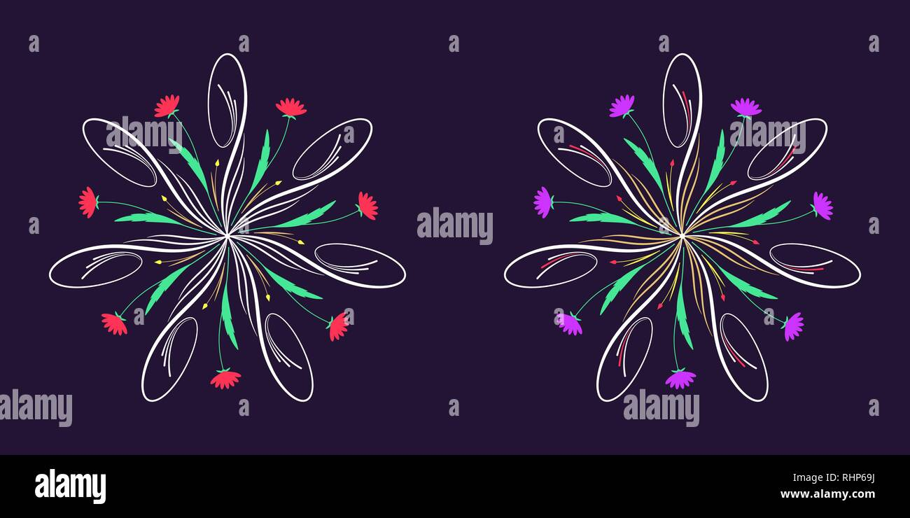 Floral flourish ornament in calligraphic style with 7 repeating rays. Vector radial decoration, round herbal bouquet with flowers and leaves, branches - Stock Image