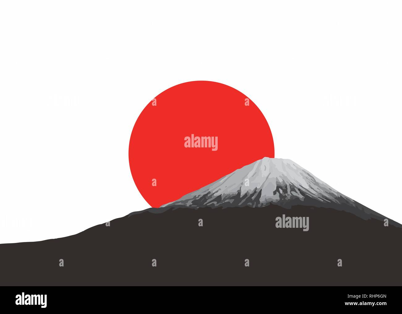 Mount Fuji and red rising sun. Flag and symbol of Japan. - Stock Image