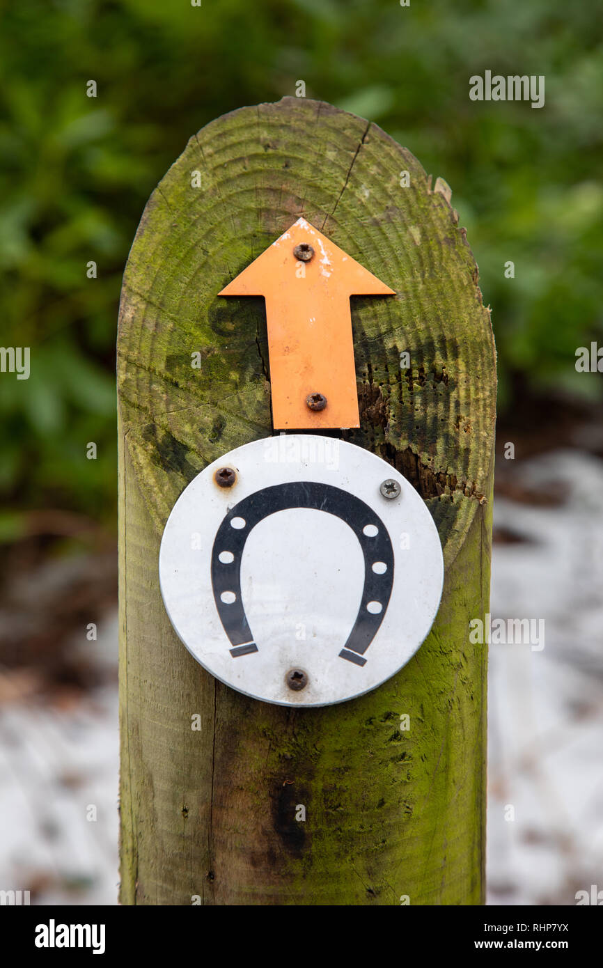 Signs mounted on a wooden post indicating the direction of a bridlepath for riding horses Arrowe Park Birkenhead February 2019 Stock Photo