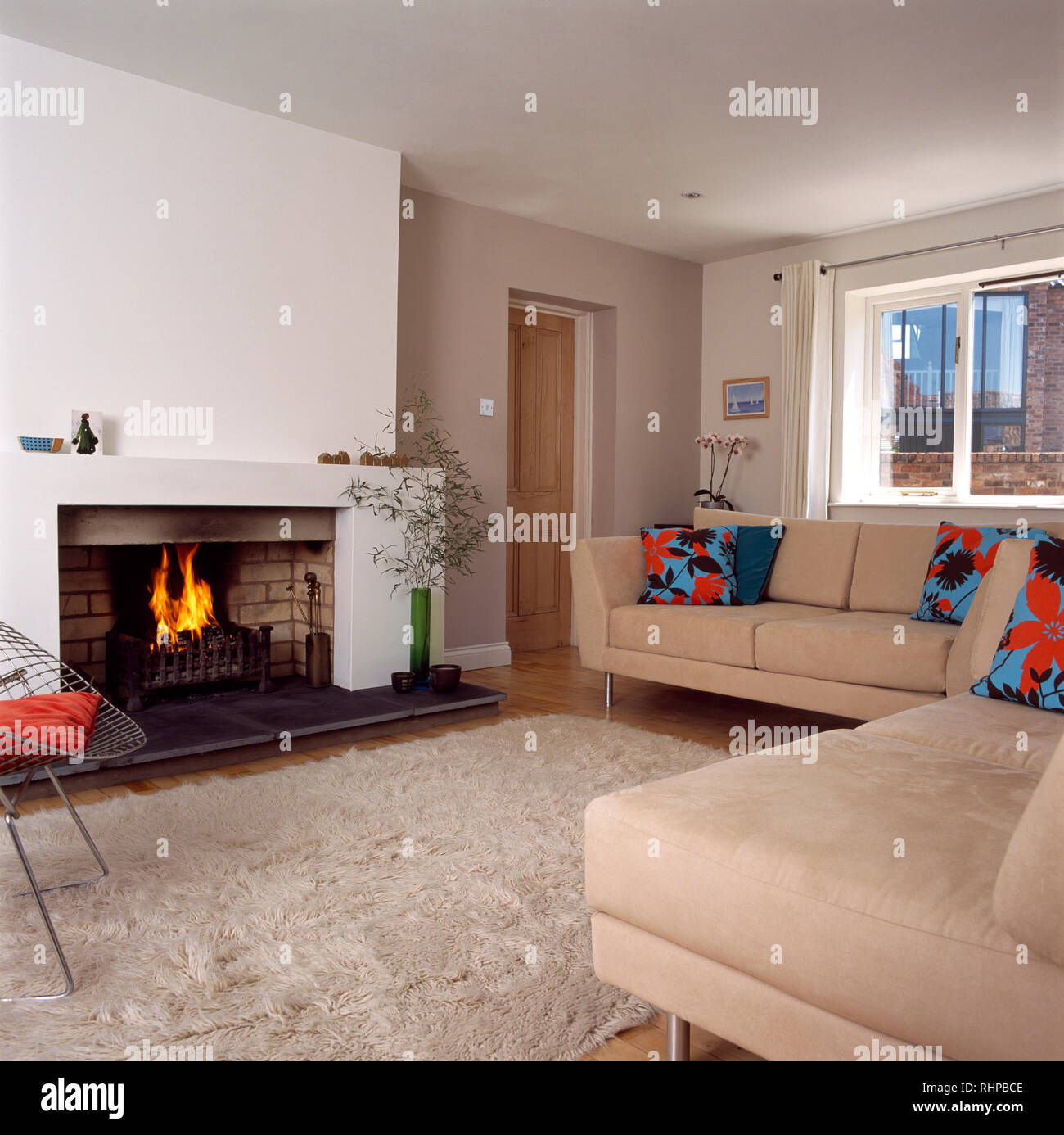 Shag Pile Rug And Beige Sofas In Modern Living Room Stock Photo Alamy