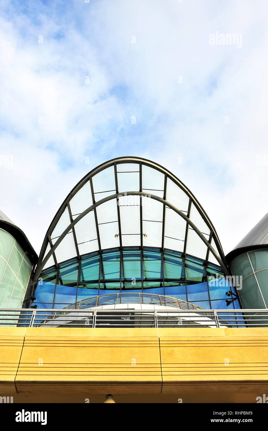 Upper entrance to the Liverpool Exhibition Centre(right) and the M and S Bank Arena,King's Dock,Liverpool,Merseyside - Stock Image