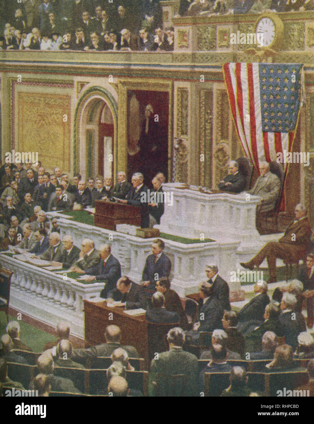The caption reads: The President of the United States delivers his momentous message to Congress declaring that a State of War existed between the United States and Germany. President Woodrow Wilson asked Congress to declare war on Germany on April 2, 1917. Stock Photo