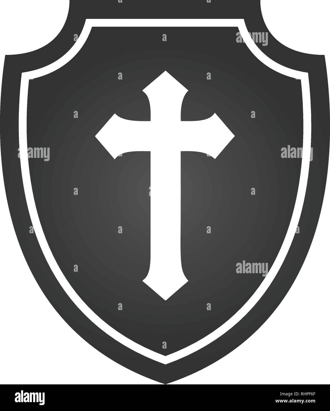 Christian cross and shield of faith. Christian church vector logo. Missionary icon. Religious symbol. Protection, safety, - Stock Image