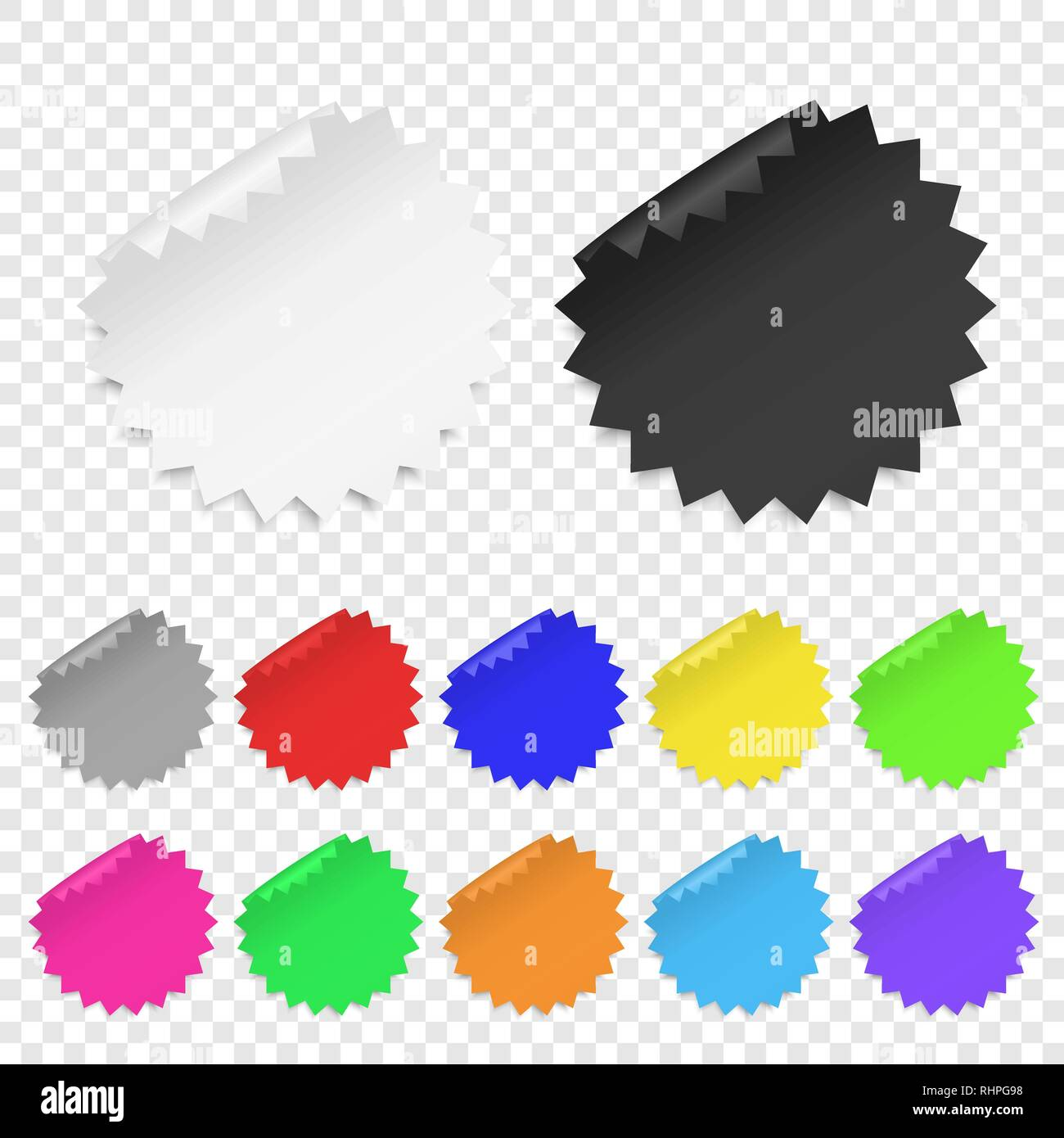 Vector Realistic 3d Circle Adhesive Colored Blank Paper