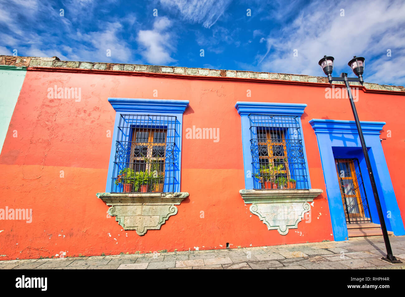 Oaxaca, Scenic old city streets and colorful colonial buildings in historic city center - Stock Image