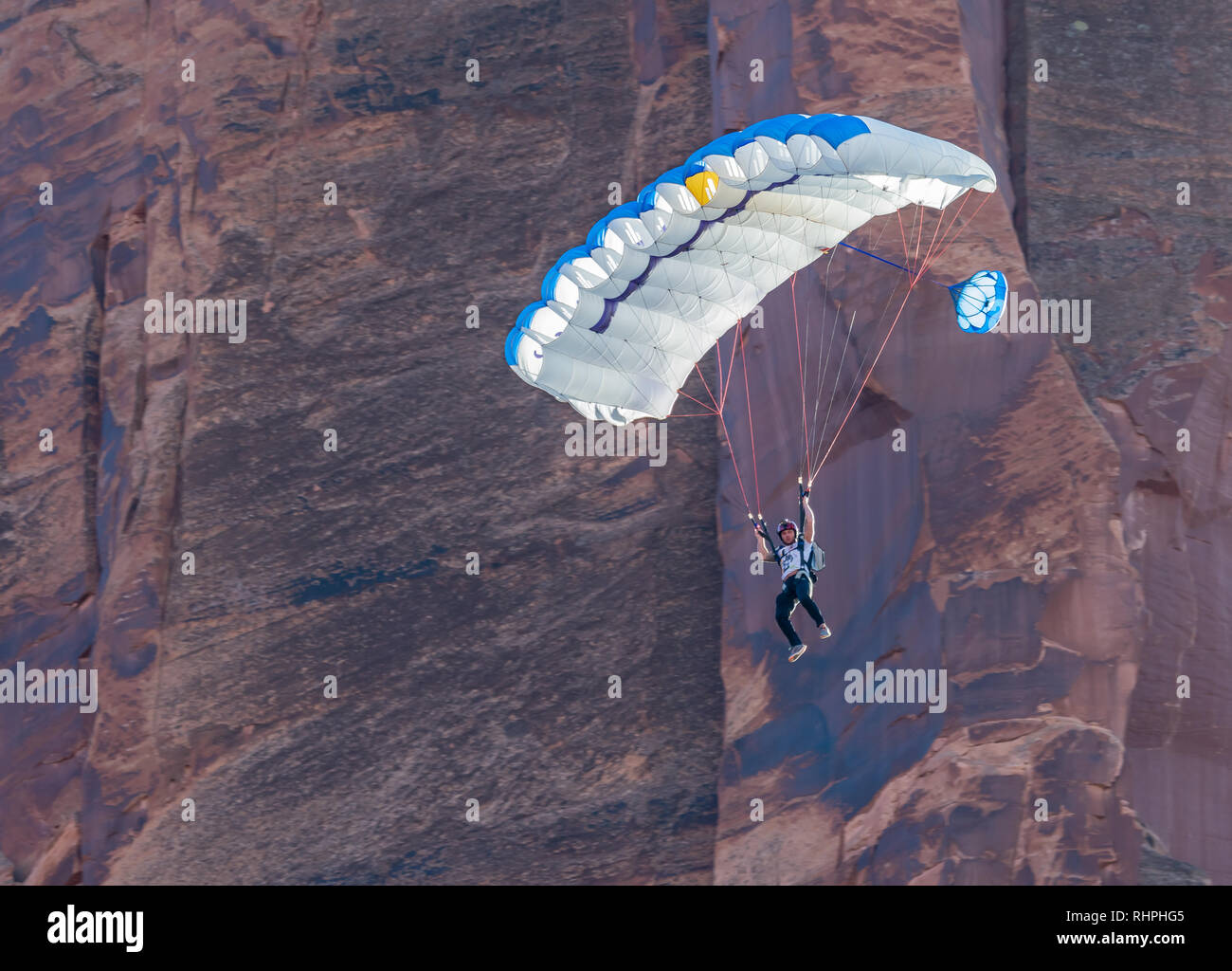 Tim Sosebee BASE Jumping near Moab Utah - Stock Image