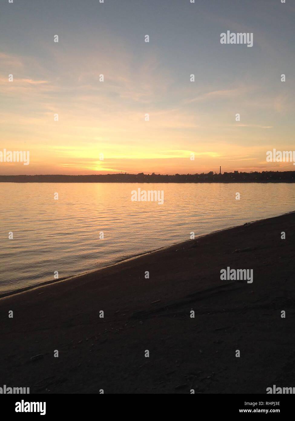 sea sun and horizont mobile photography - Stock Image