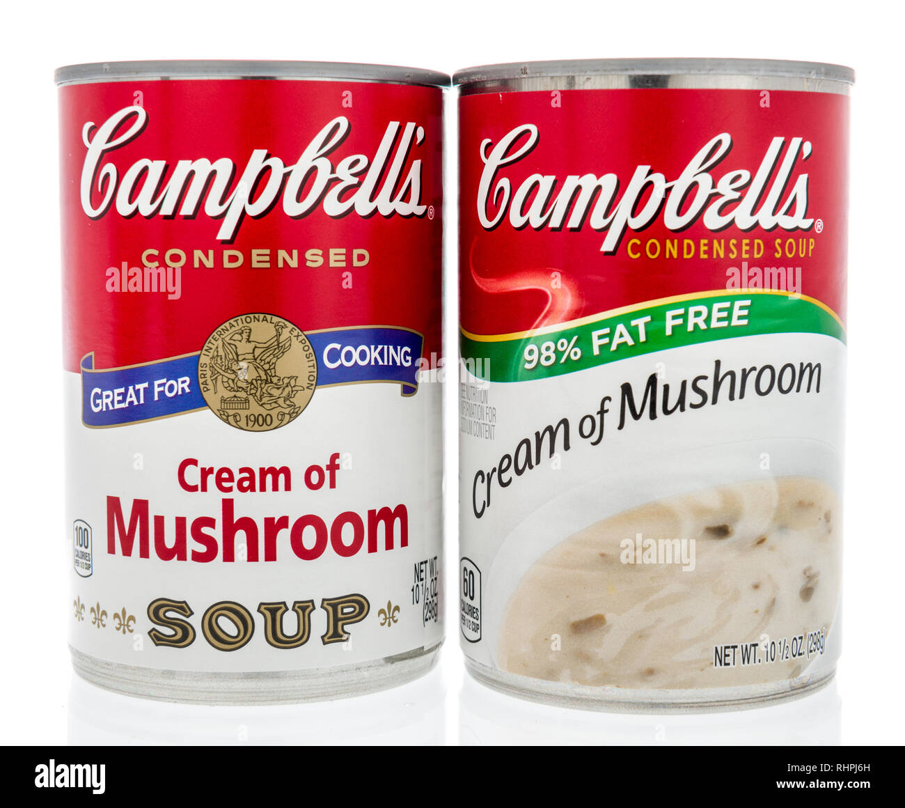 Winneconne, WI - 2 Feb 2019: A pair of can of Campbells soup in cream of mushroom of original and fat free on an isolated background Stock Photo