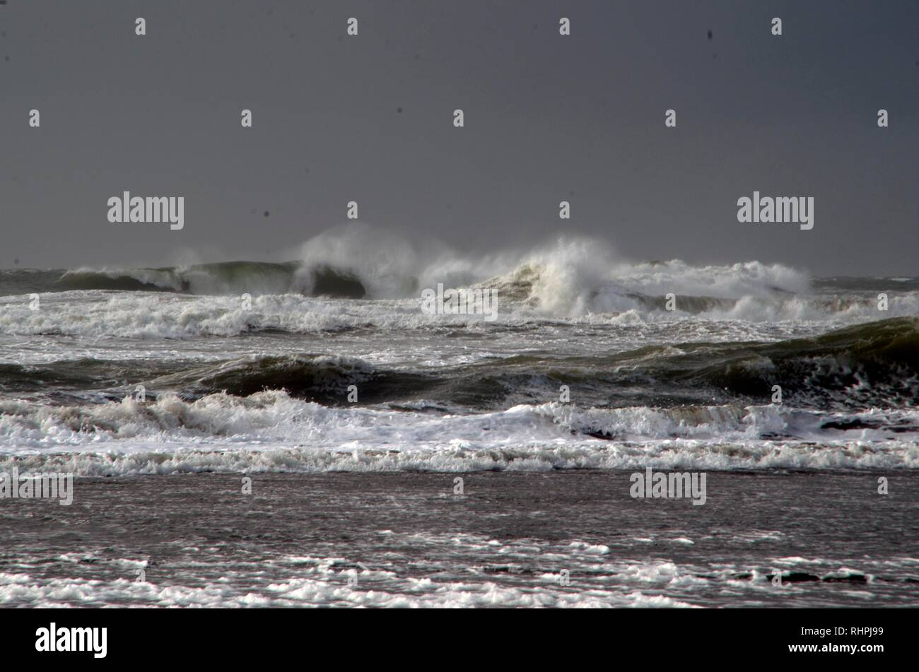 The waves at Ocean Beach in San Francisco can become choppy during storms and windy conditions. - Stock Image