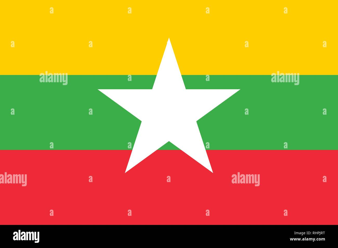 Vector Image of Myanmar Flag. Based on the official and exact Myanmar flag dimensions (3:2) & colors (116C, 361C, 1788C and White) - Stock Vector