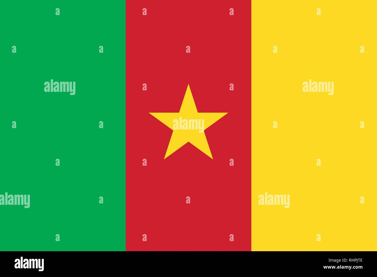 Vector Image of Cameroon Flag. Based on the official and exact Cameroon flag dimensions (3:2) & colors (115C, 354C and 186C) - Stock Vector