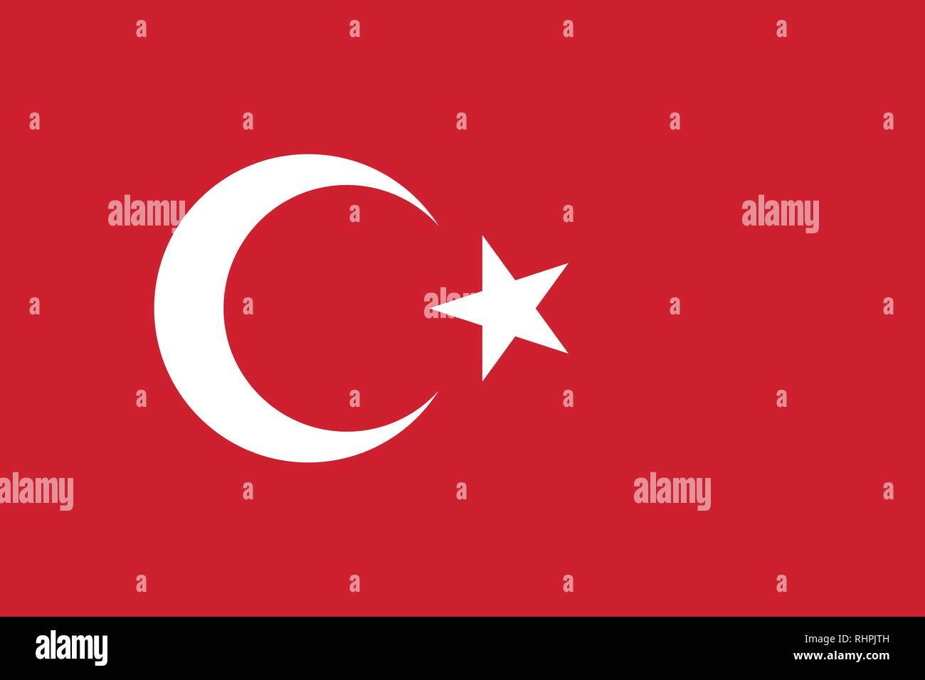 Vector image for Turkey flag. Based on the official and exact Turkish flag dimensions (3:2) & colors (186C and White) - Stock Vector