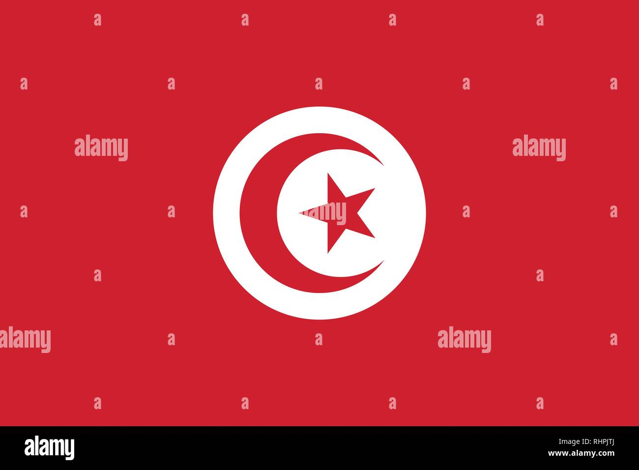 Vector image for Tunisia flag. Based on the official and exact Tunisian flag dimensions (3:2) & colors (186C and White) - Stock Vector