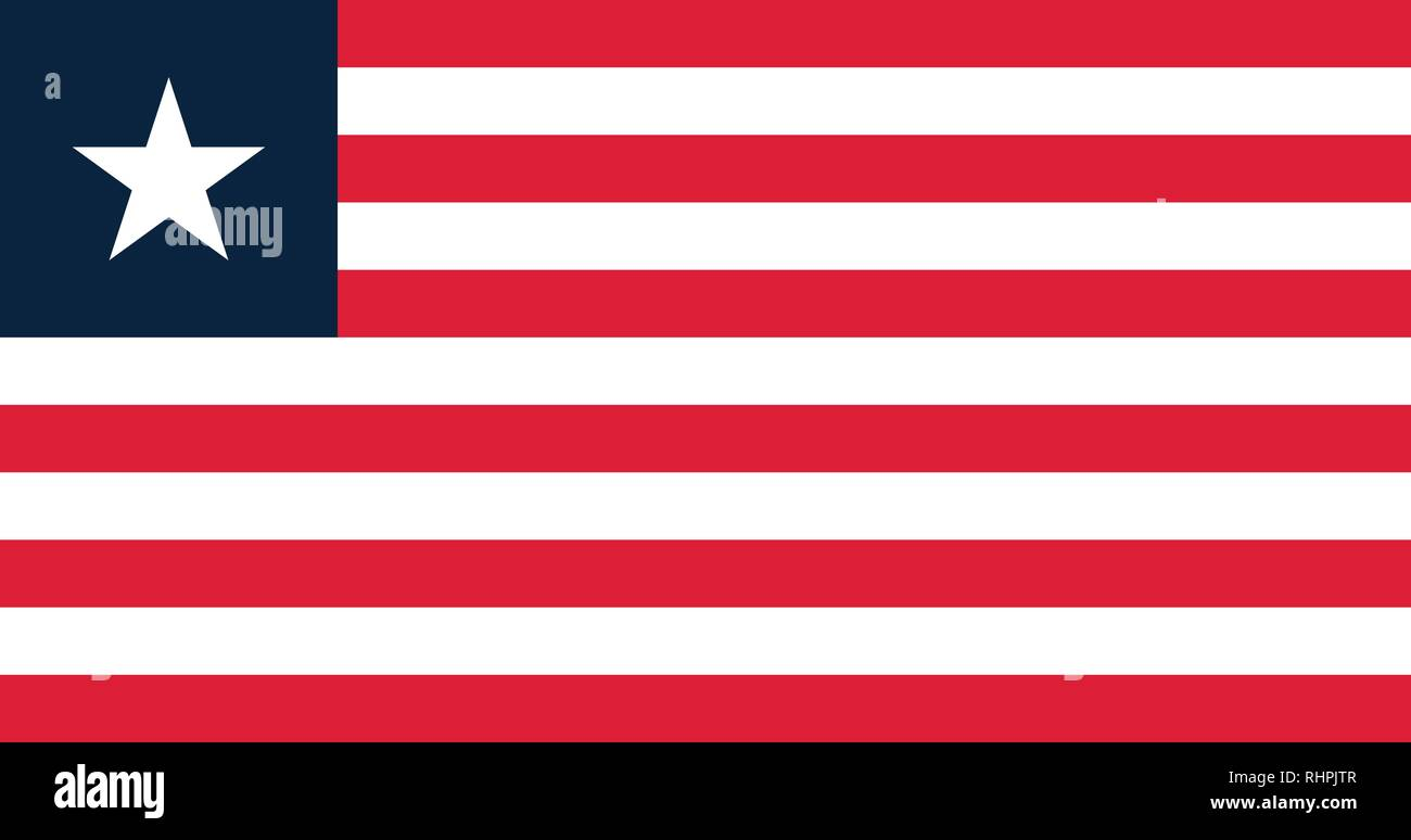 Vector image for Liberia flag. Based on the official and exact Liberia flag dimensions (19:10) & colors (White, 199C and 289C) - Stock Image