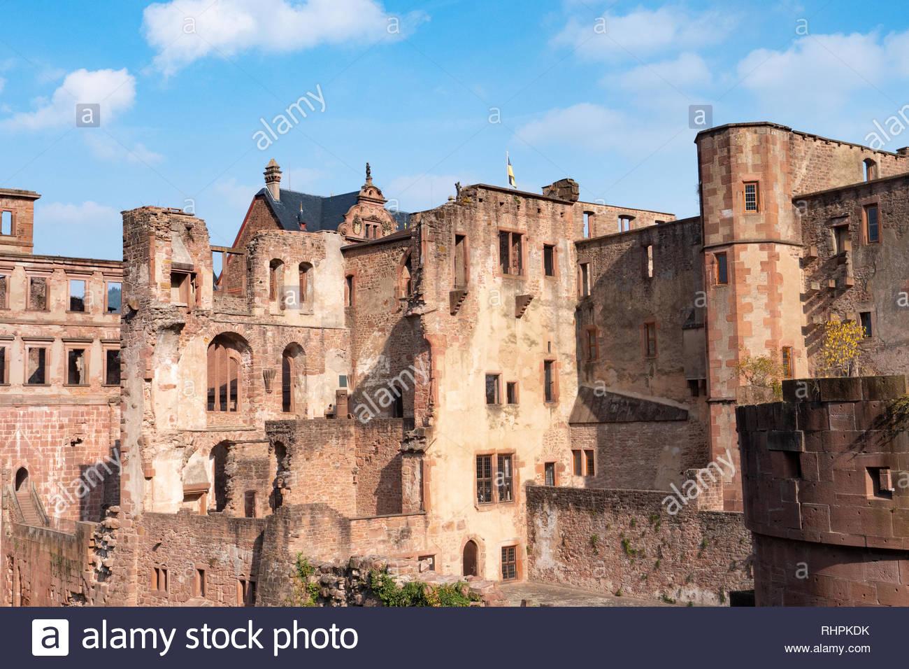 View landscape of inside of Heidelberg Castle and German called Heidelberger Schloss is a ruin in Germany and landmark of Heidelberg. Stock Photo