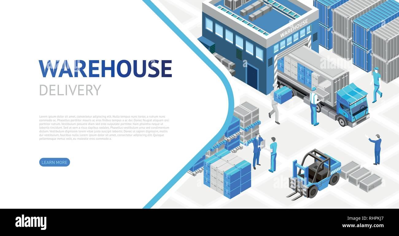 Isometric design of warehouse  - Stock Image