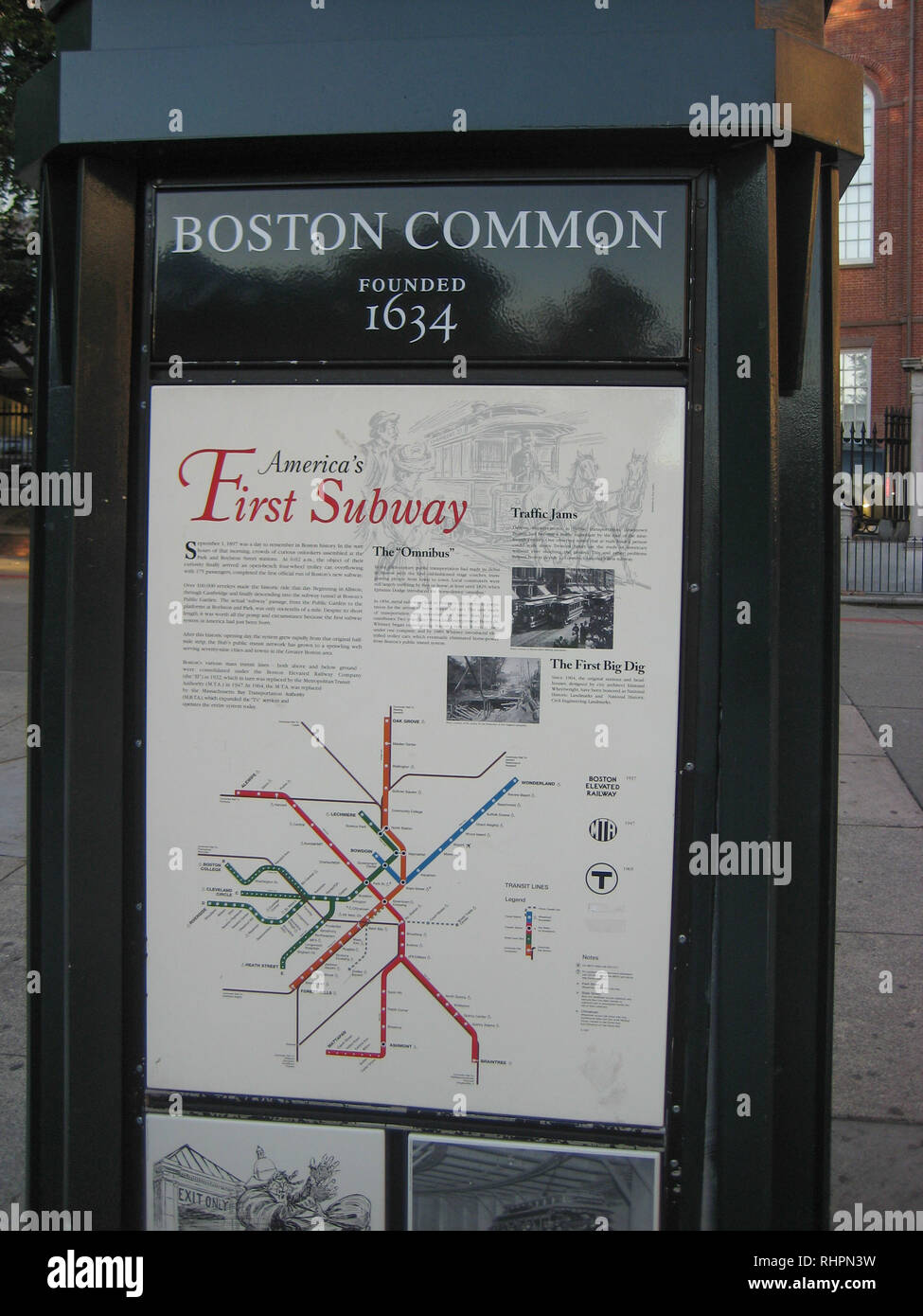 Massachusetts Subway Map.Boston Common Subway Map And Sign Boston Massachusetts Usa Stock