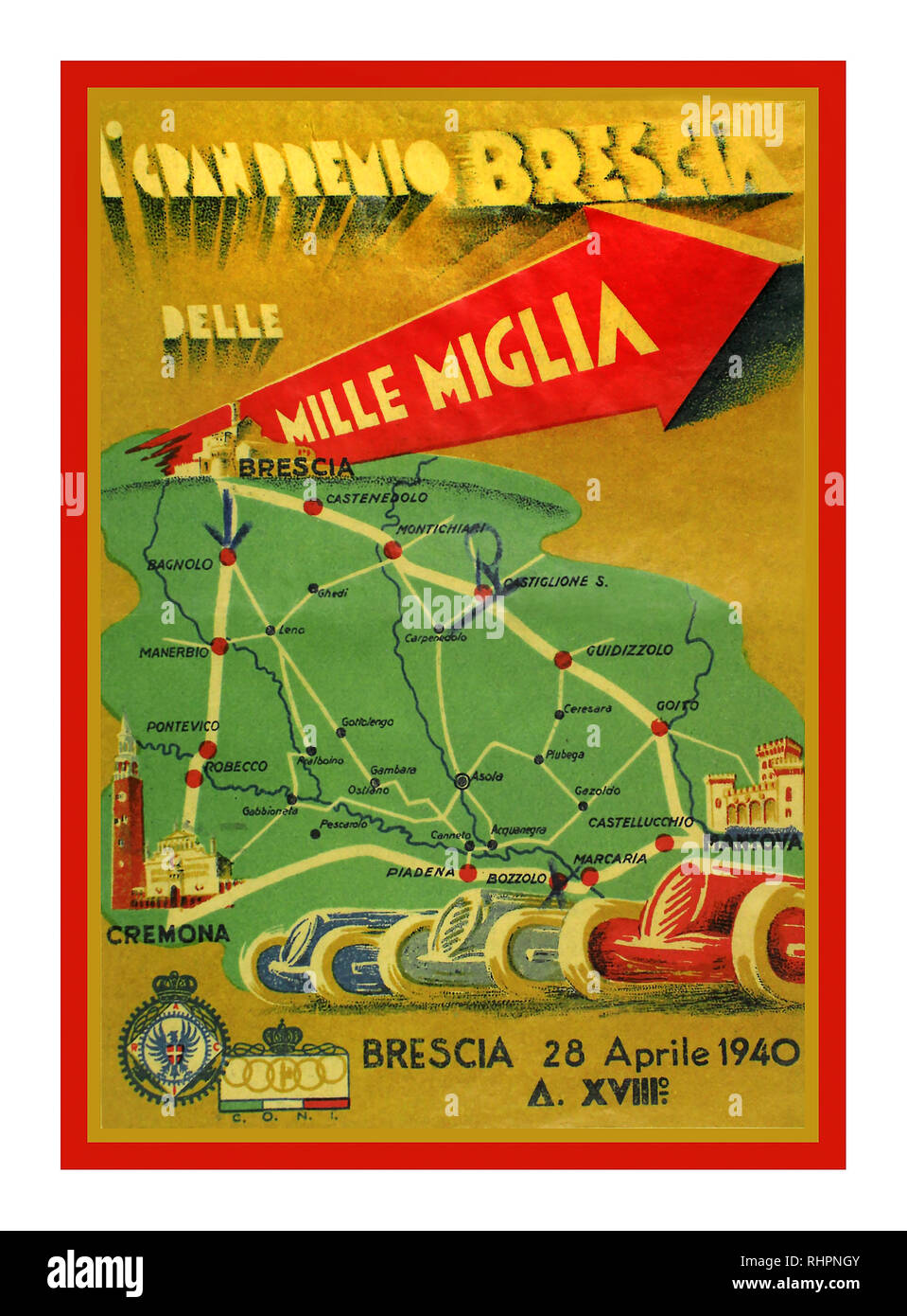 1940 Vintage Motor Racing Poster  Mille Miglia 1st Grand Prix Brescia 28th April 1940. Despite a suspension of the Mille Miglia by Mussolini due to a fatal accident in 1938 that resulted in the death of 10 spectators a smaller version of the event, officially the Gran Premio di Brescia was held over a triangular course with Brescia, Mantua and Cremona at its apexes. The race entailed nine laps over the 104 mile circuit  Von Hanstein - Baumer won the race.. Winning Speed 104.20 mph in a BMW - Stock Image