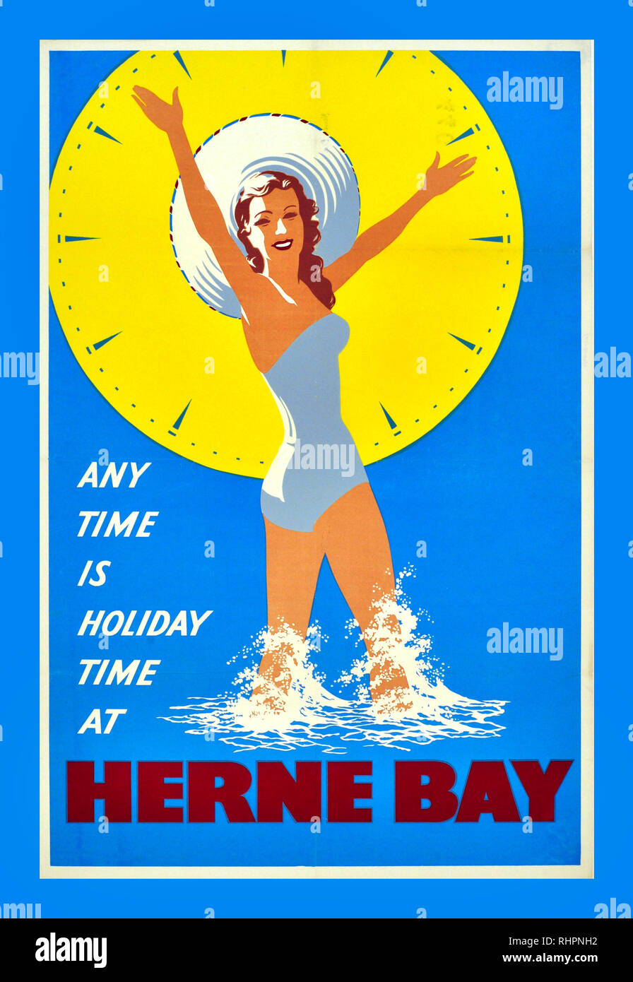 vintage Railway travel advert poster reproduction. Hearne Bay