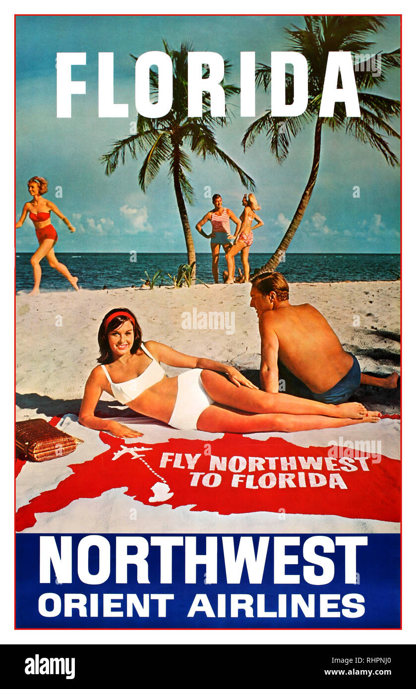 1950's Vintage travel advertising poster for Florida – Fly Northwest to Florida – Northwest Orient Airlines. Retro design featuring a photograph of people enjoying the sunshine on a sandy beach with a young couple talking below palm trees in front of the sea as a lady wearing a red bikini runs by and another couple in the foreground lies relaxing on a beach towel with the map of the United States on it marking the flight route, the text above and below in stylised white letters. Northwest Airlines was founded as Northwest Airways in 1926 - Stock Image
