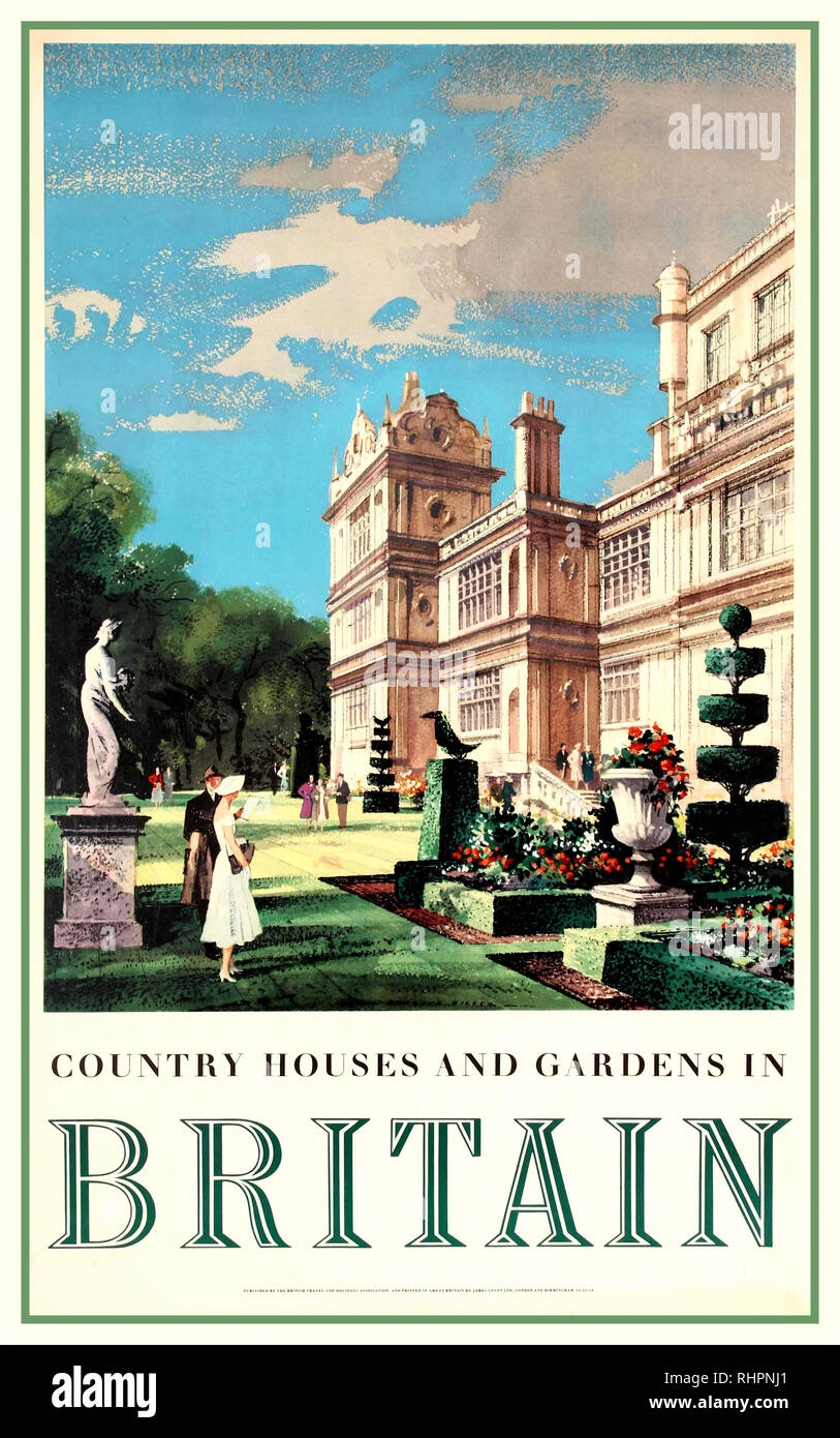 Vintage UK travel poster promoting Britain and its Country Houses and Gardens featuring design by Rowland Hilder of people enjoying the grounds of a country manor on a sunny day including trimmed hedges statues flowers and trees. UK Graphic Artist Rowland Hilder 1952 - Stock Image