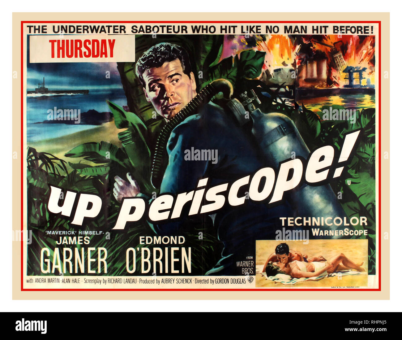 Vintage movie film poster for the UK release of 'Up Periscope', a 1959 World War II film drama directed by Gordon Douglas and starring James Garner, Edmond O'Brien, Andra Martin and Alan Hale, Jr. The film was made in WarnerScope and Technicolor, distributed by Warner Bros., and produced by Aubrey Schenck. The film's screenplay was written by Richard H. Landau and Robb White, having been adapted from White's novel. In 1942, Navy Lieutenant Kenneth Braden from the underwater demolition team is sent to a Japanese island to photograph secret radio codes. UK. 1959 - Stock Image